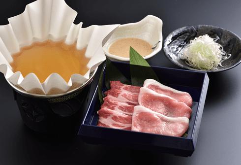 京の都もち豚・2種のロースを食べ比べする出汁しゃぶしゃぶ100g